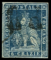 Lot 21957:1851-52 On Coloured Paper SG #16 4c deep blue/azure, 4 margins, Cat £350.