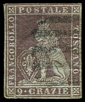 Lot 21958:1851-52 On Coloured Paper SG #21 9c dull purple/azure, 3 close margins, thinned, Cat £475.