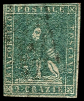 Lot 4319:1857 On White Paper SG #29 2c greenish blue, 4 close/touching margins, thin paper, Cat £140.