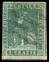 Lot 21960:1857 On White Paper SG #29 2c greenish blue, 4 good/touching margins, Cat £140.