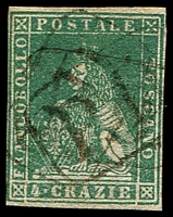 Lot 4320:1857 On White Paper SG #30 4c green, 4 close/touching margins, Cat £180.