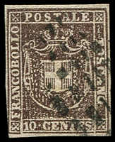 Lot 4321:1860 Provisional Government SG #44 10c purple-brown, 4 close margins, Cat £60.