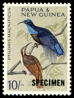 Lot 4310:1964-65 Birds 10/- optd 'SPECIMEN'.