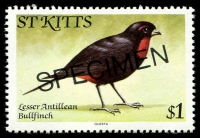 Lot 4367:1981 Birds SG #67As $1 Lesser Antillean Bullfinch, optd 'SPECIMEN'.