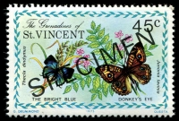 Lot 4390 [2 of 5]:1975 Butterflies SG #61s-5s complete set, with 'SPECIMEN' ovpt. (5)