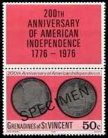 Lot 4395 [2 of 3]:1976 USA Bicentenary SG #82s-4s complete set, 50c with label, with 'SPECIMEN' ovpt. (3)