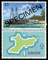 Lot 4393 [1 of 4]:1976 Union Island SG #74s-7s complete set, 5c & $1 both with se-tenant labels, with 'SPECIMEN' ovpt. (4)