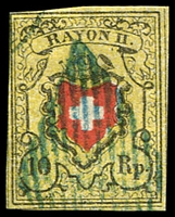 Lot 4383:1850 Rayon II SG #10 10r red, black & yellow type b, 4 close/touching margins, Cat £150.