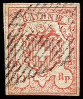 Lot 4387:1852 Rayon III Large Figures of Value SG #24 15c vermilion, 4 margins, Cat £150.