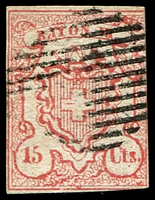 Lot 4386:1852 Rayon III Small Figures of Value SG #22 15c vermilion, 3 margins, Cat £950.