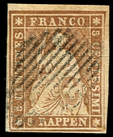 Lot 4392:1854-62 Seated Helvetia - Berne Printing Coloured Thread Thick Paper SG #33 5r yellow-brown (yellow thread), 4 margins, Cat £110.