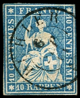 Lot 4693:1854-62 Seated Helvetia - Berne Printing Green Thread Thick Paper SG #48 10r blue, 4 close/touching margins, Cat £22.