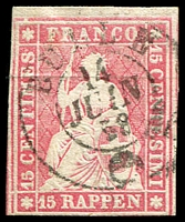 Lot 4694:1854-62 Seated Helvetia - Berne Printing Green Thread Thick Paper SG #49 15r rose, 3 close/touching margins, Cat £65.
