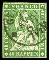Lot 4696:1854-62 Seated Helvetia - Berne Printing Green Thread Thick Paper SG #51 40r green, 4 touching margins, Cat £85.