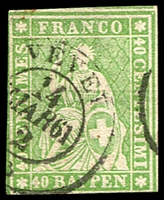 Lot 4195:1854-62 Seated Helvetia - Berne Printing Green Thread Thick Paper SG #51a 40r yellow-green, 3 close/touching margins, Cat £85.
