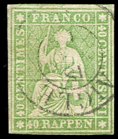 Lot 4697:1854-62 Seated Helvetia - Berne Printing Green Thread Thick Paper SG #51a 40r yellow-green, 4 close/touching margins, Cat £85.