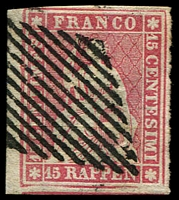 Lot 4390:1854 Seated Helvetia - Munich Printing Emerald Thread Thin Paper SG #27 15r rose, 4 good/large margins, Cat £180.