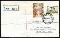 Lot 2384:Buchan South: - WWW #30C 'BUCHAN SOUTH/31MR80/VIC.', (closing day) on $s & 20c on cover with blue provisional registration label. [Rated R]  PO 18/3/1901; closed 31/3/1980.