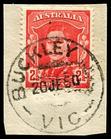 Lot 2391:Buckley: - WWW #10A 'BUCKLEY     /21JE50/VIC' ('R.S.' removed) on 2½d red KGVI on piece. [Rated R]  Renamed from Buckley R.S. PO 18/10/1948; closed 30/6/1970.