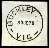 Lot 2392:Buckley: - WWW #10B 'BUCKLEY     /30JE70/VIC' ('R.S.' removed) archival strike. [Rated 3R]  Renamed from Buckley R.S. PO 18/10/1948; closed 30/6/1970.