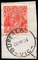 Lot 2402:Buffalo: - WWW #10 'BUFFALO    /30MY34/VIC' ('R.S.' removed) on 2d red KGV on piece.  Renamed from Buffalo R.S. PO c.1911; LPO 18/3/1994.