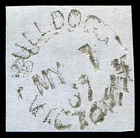 Lot 2421:Bull Dog: - WWW #10 unframed 'BULLDOG/MY7/67/VICTORIA' on piece. [Rated 4R - the only recorded date.]  PO 25/3/1862; renamed Illabarook PO 19/11/1874.