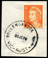 Lot 2500:Bullengarook (2): - WWW #10 'BULLENGAROOK    /30JE76/VIC-AUST' ('EAST' removed - Closing day) on 6c orange QEII on piece. [Rated R]  Renamed from Bullengarook East PO 24/5/1972; closed 30/6/1976.