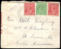 Lot 2804 [1 of 2]:Coromby: - WWW #30A 'COROMBY/1SE15/VIC' on ½d & 1d red KGV x2 on censored cover to USA. '[P]assed' in violet on face. [Rated R]  PO 6/10/1879; closed 14/1/1970.