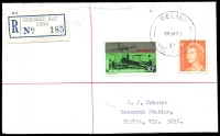 Lot 2806 [1 of 2]:Coronet Bay: - 'RELIEF/29JA71/89/VIC-AUST' on 30c & 6c on registered Webster cover with blue provisional label. [Coronet Bay was only open each summer, from mid-December to late January; it only used relief datestamps.]  PO 18/12/1969; closed c.1975.