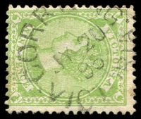 Lot 2832:Corryong: - WWW #20 24mm unframed 'CORR[YON]G/JY20/95/VICTORIA' on 9d green. [Rated 3R]  PO 1/2/1874; LPO 1/8/1996.