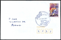 Lot 2845:Corryong: - WWW #150 37mm pictorial 'CORRYONG VIC 3707/17JAN2001/[horseman & cattle]/GATEWAY to the SNOWY MOUNTAINS' (9DL) on 45c on cover  PO 1/2/1874; LPO 1/8/1996.