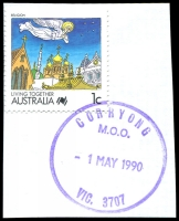 Lot 2849:Corryong: - violet WWW #320 'CORRYONG/M.O.O./1MAY1990/VIC. 3707' (ERD) on 41c Sports.  PO 1/2/1874; LPO 1/8/1996.