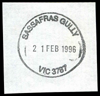 Lot 2740:Sassafras Gully: - WWW #40 28mm 'SASSAFRAS GULLY/21FEB1996/VIC 3787' on piece.  PO 1/6/1901; LPO 27/10/1993.