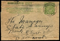 "Lot 2745:Scarsdale: - WWW #20A 'SCARSDALE/17MY3?/VIC' on 1d green KGV newspaper wrapper unusually endorsed ""Pass Book""  PO 1/6/1862; LPO 1/9/1993."