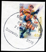 Lot 2761:Scoresby Business Centre: - WWW #10 39mm 'Business Post/CENTRE/25OCT1999/Scoresby Vic 3176' on 45c on piece. [Only date recorded]  Replaced South Eastern Mail Centre BC 1/7/1999.
