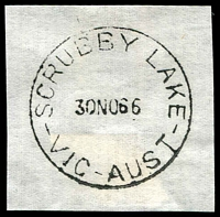 Lot 2772:Scrubby Lake: - WWW #10 'SCRUBBY LAKE/30NO66/VIC-AUST' (last day) on piece. [Archival strike - no contemporary cancels recorded. TO only.]  TO 27/8/1952; closed 30/11/1966.