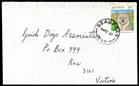 Lot 2845:Seaspray: - WWW #10C oily 'SEASPRAY/2 OC 84/VIC' (inverted decade, spaced dateline) on 2c Finch.  RO 28/12/1915; PO 1/7/1927; LPO 14/7/1994.
