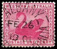 Lot 3415:Albany: left half of unframed duplex 'ALBANY/FE26/1901/[WES]T[ERN AUS]TRALIA' (#DxPO 1c) on 1d carmine.  PO 14/10/1834.