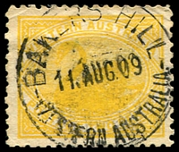 Lot 3419:Bakers Hill: - 'BAKERS HILL/11AUG09/WESTERN AUSTRALIA' on 2d yellow Swan.  RO 1/6/1906; PO 17/5/1907.