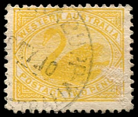 Lot 3524:Barrabupp: - '[BARR]ABUPP/?8MY10/[WESTN AU]STRALIA' (#D27a) on 2d yellow Swan.  Renamed from St. John's Brook Mill PO 1/12/1909; closed 15/7/1911. [Timber Mill]