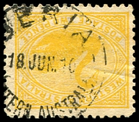 Lot 3528:Beria (1): - 'BERIA/18JUN10/[WES]TERN AUSTRALI[A]' on 2d yellow Swan.  PO 20/11/1905; RO 17/11/1923; PO 1/7/1927; closed 31/8/1929.