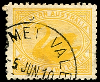 Lot 3459:Comet Vale: - '[CO]MET VALE/5JUN10/[WESTN AUSTRALIA]' on 2d yellow Swan.  PO 21/9/1908; TO 16/12/1950; closed 31/7/1951.