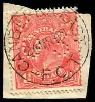 Lot 929:Canberra East: - 'CANBERRA EAST/24MR30/F.C.T.' on 1½d red KGV on piece.  Renamed from Eastlake PO 1/1/1929; renamed Kingston PO 1/10/1944.