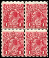 Lot 2656:1d Red Harrison Printing - BW #74 block of 4, MUH, Cat $300+.