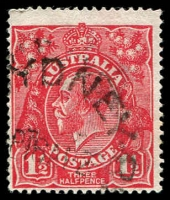 Lot 392:1½d Red Die I - BW #89(24)f [24L37] Cracked electro in right side of crown - late state, Cat $100.