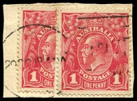 Lot 213:1d Red Smooth Paper - 29OC18? piece with 1d and bisected 1d (being unauthorised Provisional ½d) tied by machine cancel, unusual item.