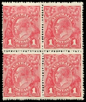 Lot 224:1d Red Smooth Paper - BW #71(4)h [VII/37] Flaw under neck in block of 4, lower units MUH, Cat $135+.