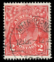 Lot 405:2d Red Die I - BW #96(11)i [11R10] Retouched nose, partly obliterated by pmk, Cat $300