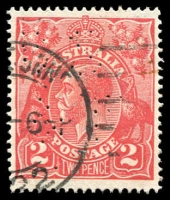 Lot 432:2d Red Die I - [12AL34] White line within left side of bottom frame etc, 'BS/&F' perfin.