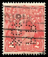 Lot 434:2d Red Die I - [12AL45] White flaw on right wattles etc, 'RR/&Co' perfin.